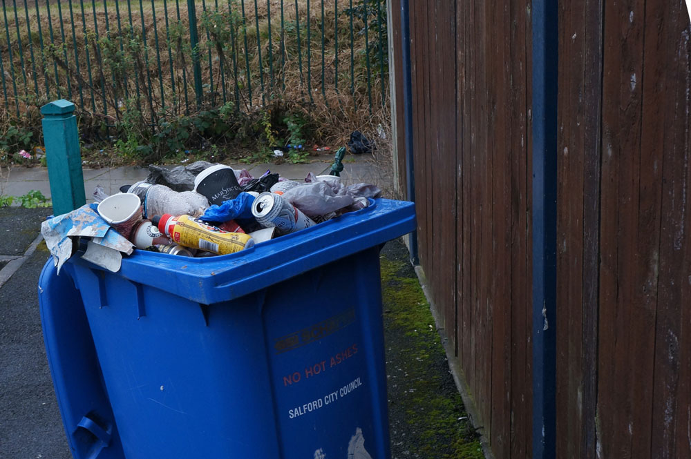 Bin with wrongly mixed items