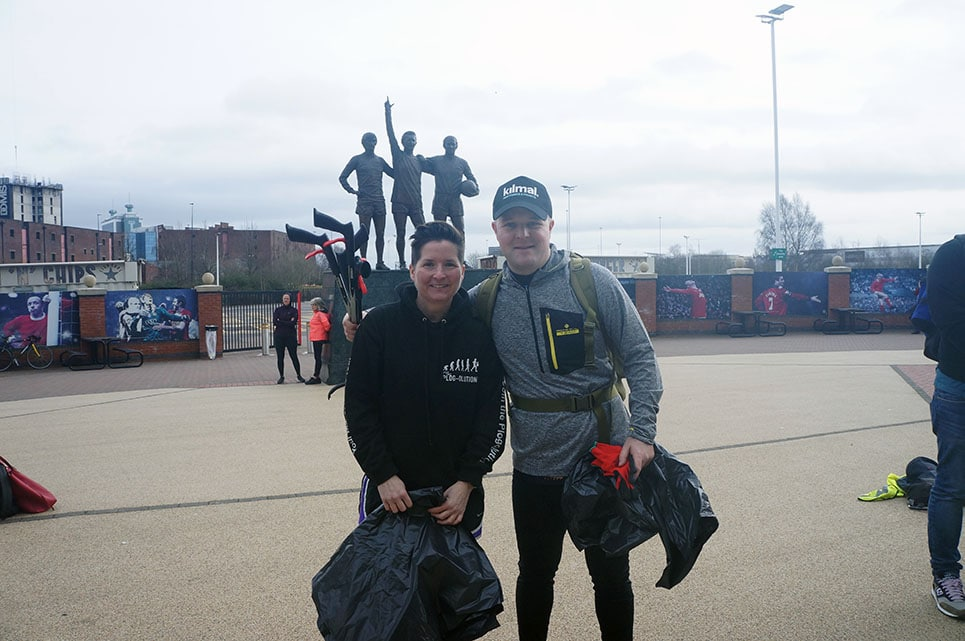 'Plogging' to all EFL grounds. Nathan with Zoe from Plogolution